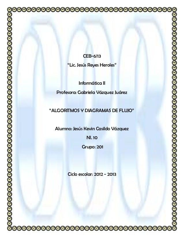 """CEB-6/13       """"Lic. Jesús Reyes Heroles""""             Informática II  Profesora: Gabriela Vázquez Juárez""""ALGORITMOS Y DIAG..."""