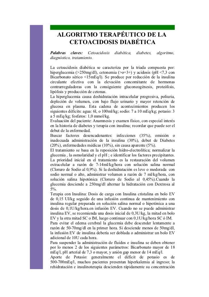 ALGORITMO TERAPÉUTICO DE LA       CETOACIDOSIS DIABÉTICAPalabras claves: Cetoacidosis          diabética,    diabetes,   a...
