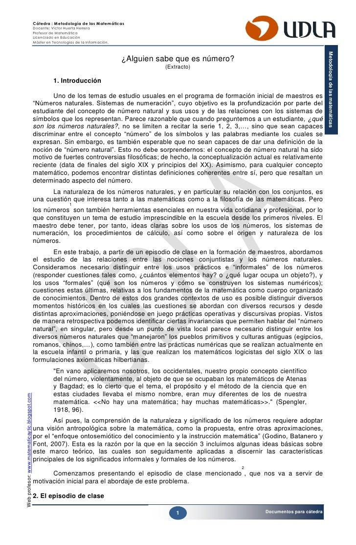 Cátedra : Metodología de las Matemáticas                                                 Docente: Víctor Huerta Herrera   ...