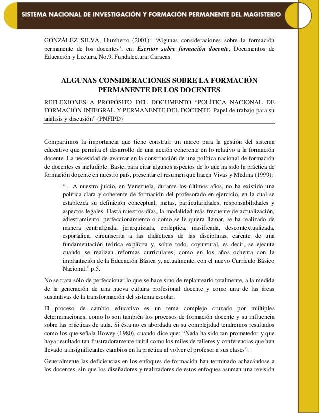 """GONZÁLEZ SILVA, Humberto (2001): """"Algunas consideraciones sobre la formación permanente de los docentes"""", en: Escritos sob..."""