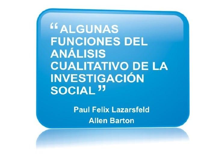 Algunas funciones del análisis cualitativo de la investigación