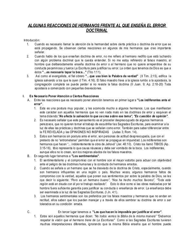ALGUNAS REACCIONES DE HERMANOS FRENTE AL QUE ENSEÑA EL ERRORDOCTRINALIntroducción:1. Cuando es necesario llamar la atenció...