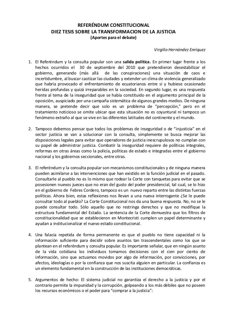 REFERÉNDUM CONSTITUCIONAL            DIEZ TESIS SOBRE LA TRANSFORMACION DE LA JUSTICIA                                 (Ap...