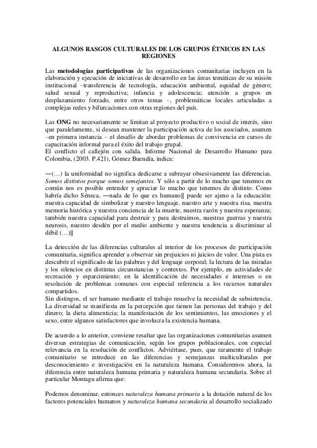 ALGUNOS RASGOS CULTURALES DE LOS GRUPOS ÉTNICOS EN LAS                       REGIONESLas metodologías participativas de la...
