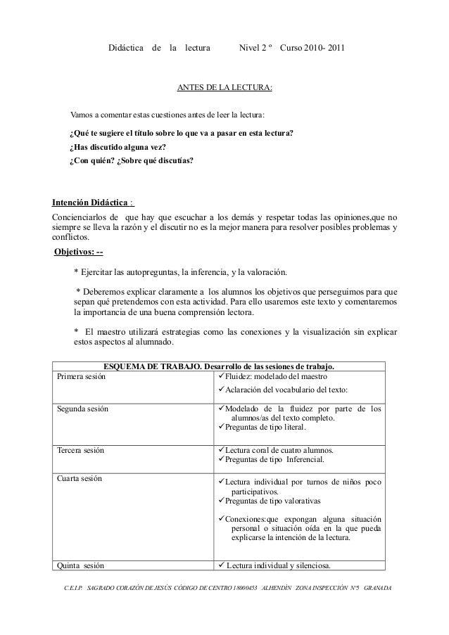 Didáctica de la lectura Nivel 2 º Curso 2010- 2011 ANTES DE LA LECTURA: Vamos a comentar estas cuestiones antes de leer la...