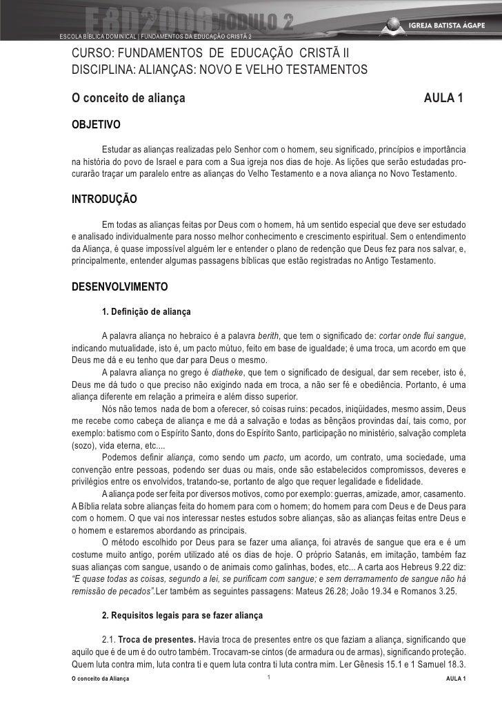 ESCOLA BÍBLICA DOMINICAL | FUNDAMENTOS DA EDUCAÇÃO CRISTÃ 2     CURSO: FUNDAMENTOS DE EDUCAÇÃO CRISTÃ II    DISCIPLINA: AL...