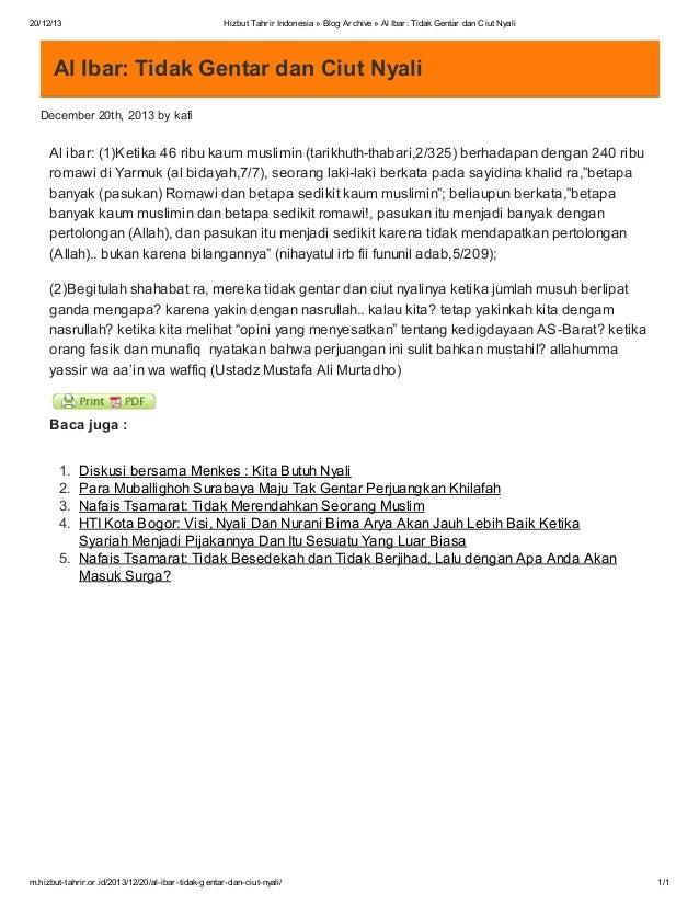 20/12/13  Hizbut Tahrir Indonesia » Blog Archive » Al Ibar: Tidak Gentar dan Ciut Nyali  Al Ibar: Tidak Gentar dan Ciut Ny...