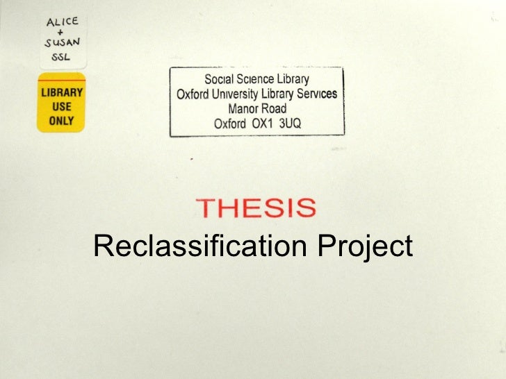 Reclassification Project