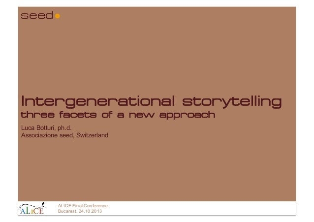 seed  Intergenerational storytelling three facets of a new approach Luca Botturi, ph.d. Associazione seed, Switzerland  AL...