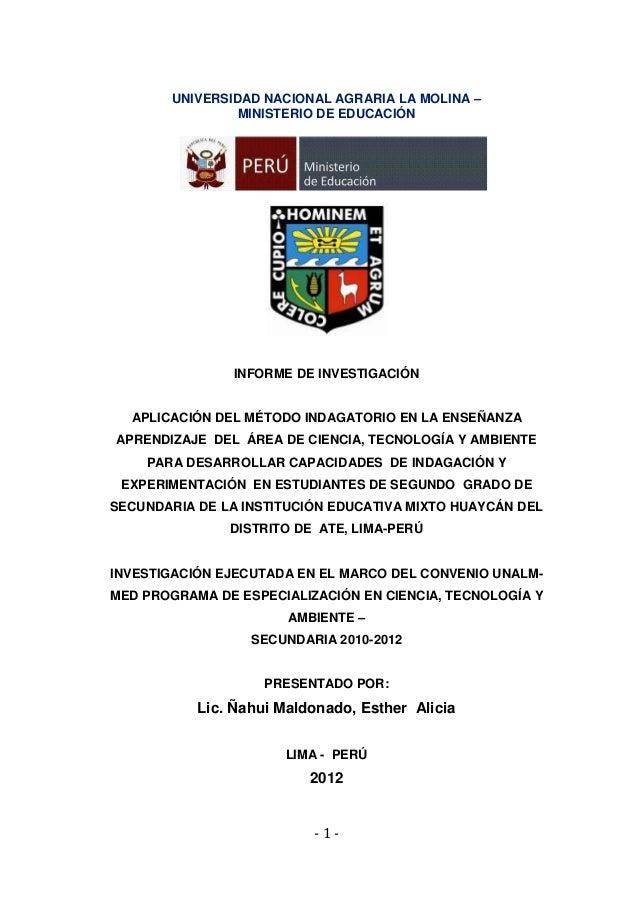 UNIVERSIDAD NACIONAL AGRARIA LA MOLINA –                 MINISTERIO DE EDUCACIÓN                INFORME DE INVESTIGACIÓN  ...