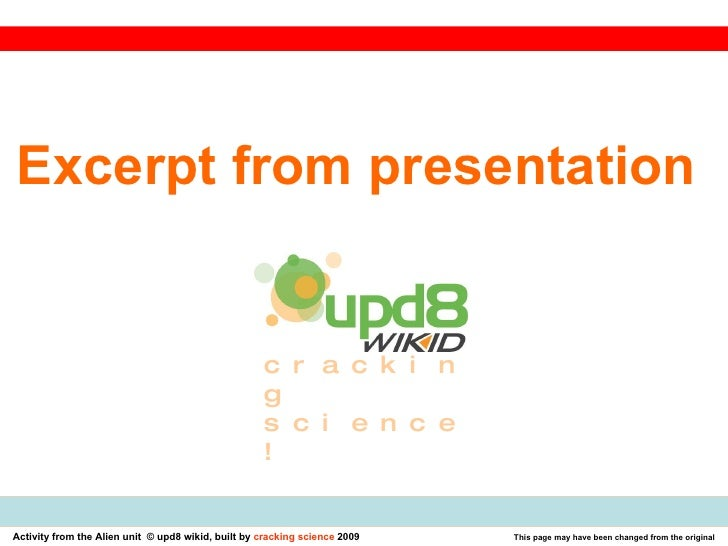 Excerpt from presentation  cracking science!