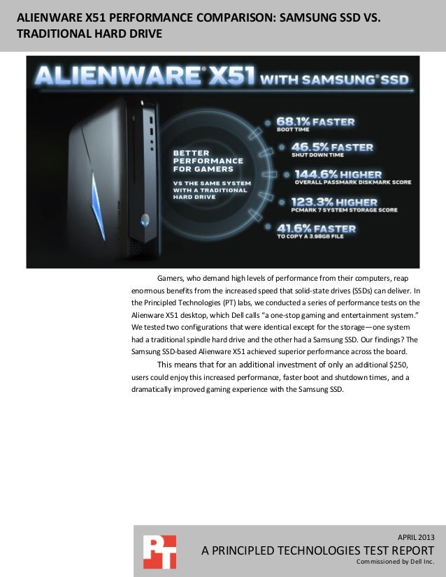 APRIL 2013A PRINCIPLED TECHNOLOGIES TEST REPORTCommissioned by Dell Inc.ALIENWARE X51 PERFORMANCE COMPARISON: SAMSUNG SSD ...
