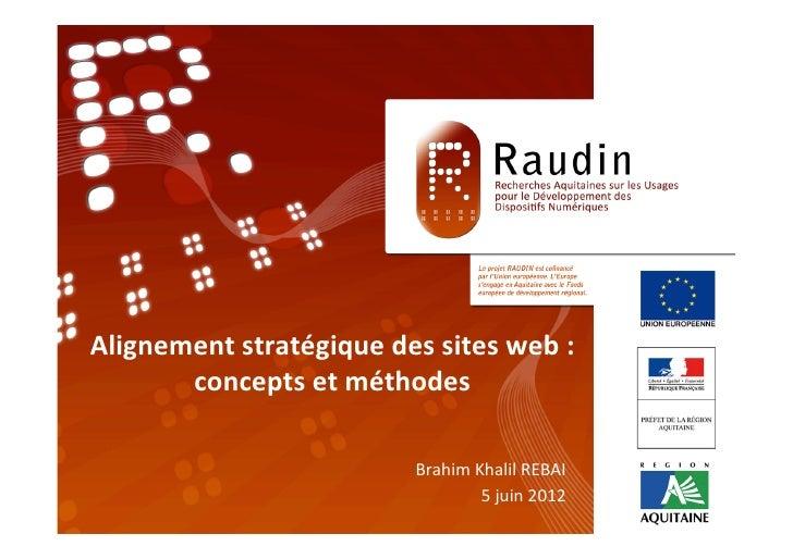 Alignement stratégique des sites web :           concepts et méthodes                             ...