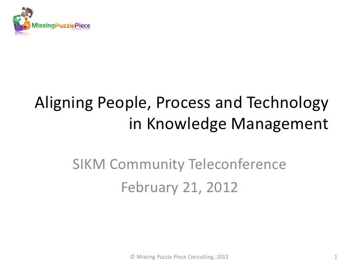 Aligning People, Process and Technology            in Knowledge Management     SIKM Community Teleconference           Feb...