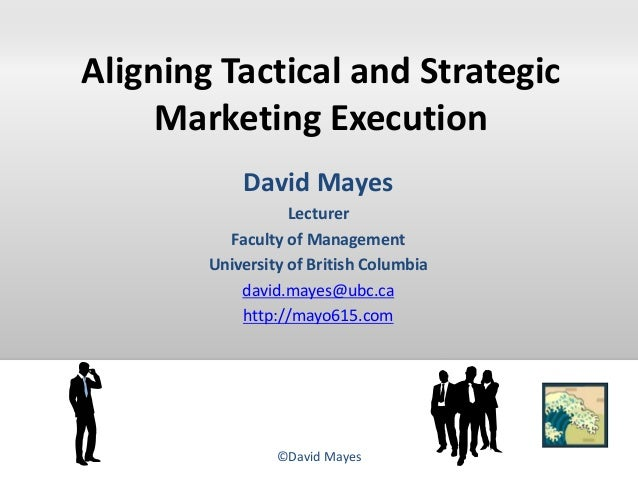 Aligning Tactical and Strategic Marketing Execution David Mayes Lecturer Faculty of Management University of British Colum...