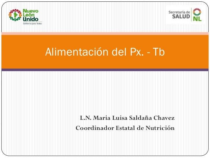 Alimentación del Px. - Tb       L.N. Maria Luisa Saldaña Chavez      Coordinador Estatal de Nutrición