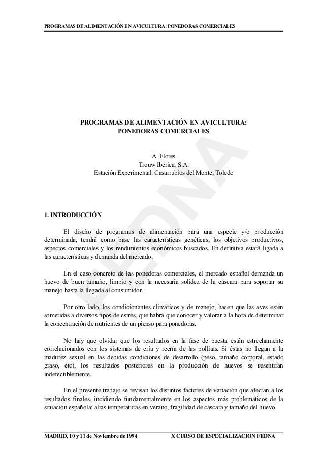 FEDNA PROGRAMAS DE ALIMENTACIÓN EN AVICULTURA: PONEDORAS COMERCIALES MADRID, 10 y 11 de Noviembre de 1994 X CURSO DE ESPEC...