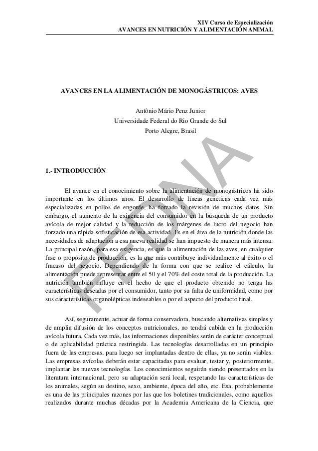 XIV Curso de Especialización                            AVANCES EN NUTRICIÓN Y ALIMENTACIÓN ANIMAL     AVANCES EN LA ALIME...