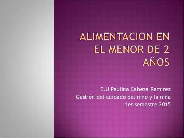 E.U Paulina Cabeza Ramírez Gestión del cuidado del niño y la niña 1er semestre 2015