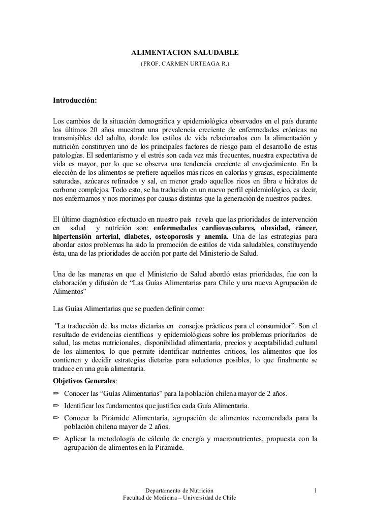 ALIMENTACION SALUDABLE                              (PROF. CARMEN URTEAGA R.)Introducción:Los cambios de la situación demo...