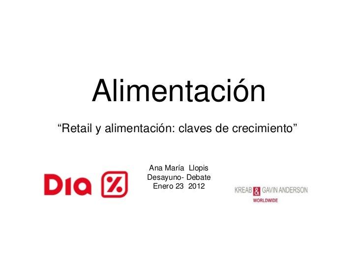 """Alimentación""""Retail y alimentación: claves de crecimiento""""                 Ana María Llopis                 Desayuno- Deba..."""