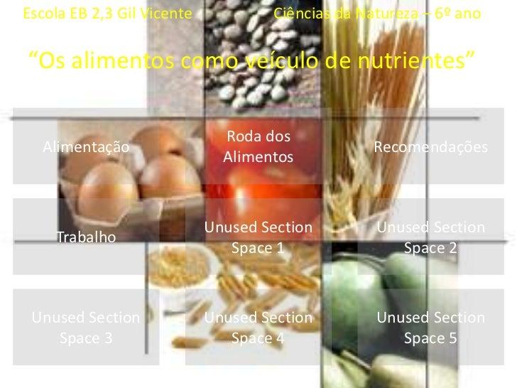 """Escola EB 2,3 Gil Vicente                     CiênciasdaNatureza – 6º ano<br />""""Os alimentoscomoveículo de nutrientes""""<br ..."""