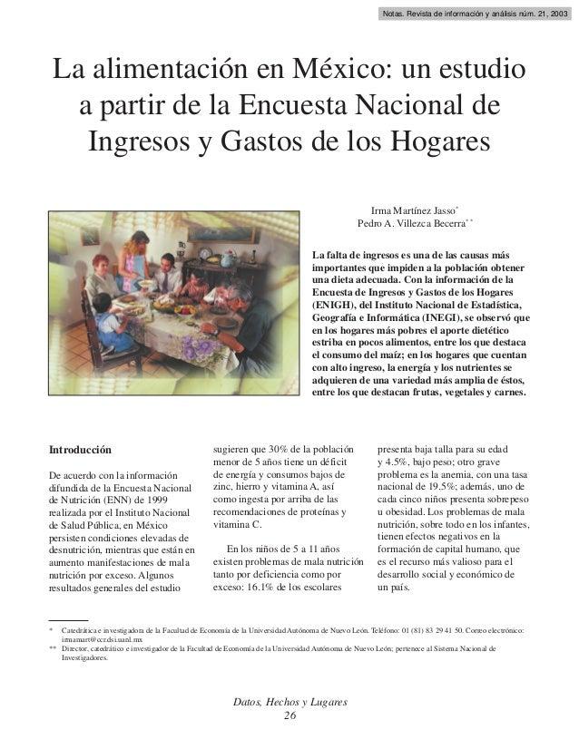 Notas. Revista de información y análisis núm. 21, 2003  La alimentación en México: un estudio a partir de la Encuesta Naci...