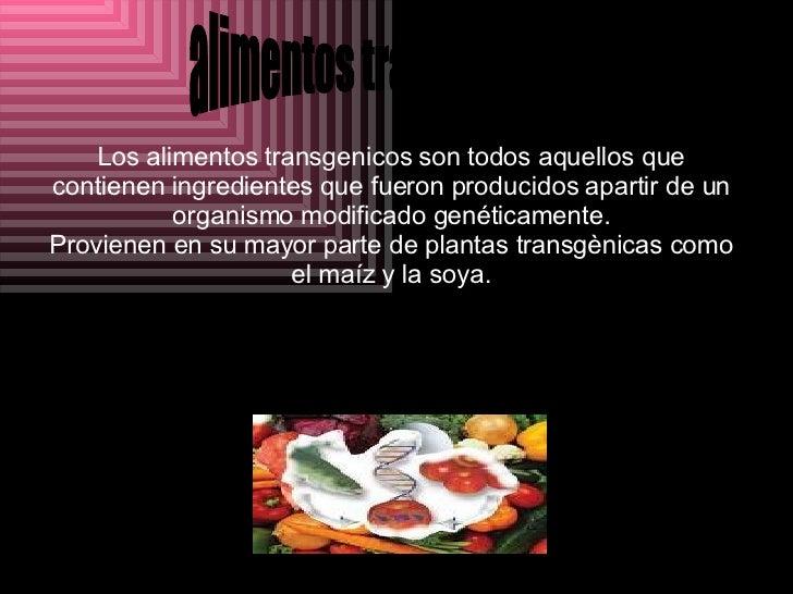 Alimentos Trasgenicos