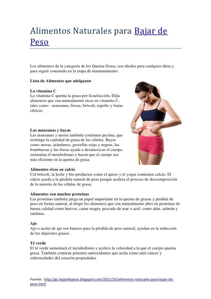 Alimentos naturales para bajar de peso - Alimentos para perder peso ...