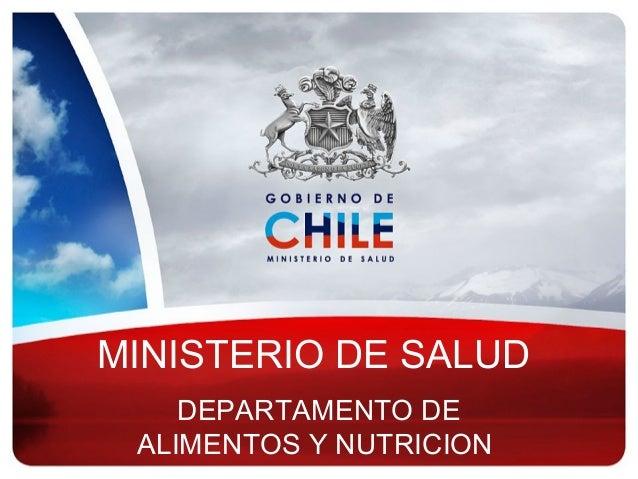 MINISTERIO DE SALUD DEPARTAMENTO DE ALIMENTOS Y NUTRICION