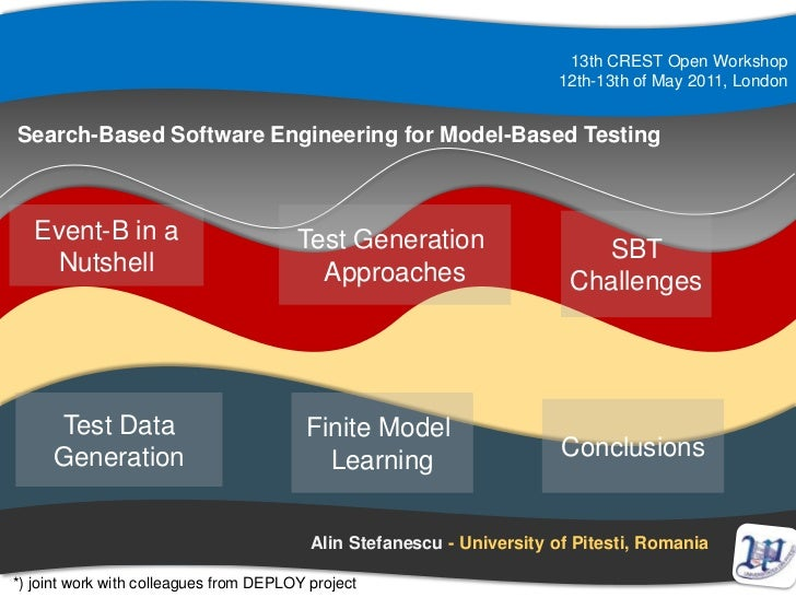 13th CREST Open Workshop<br />12th-13th of May 2011, London<br />Search-Based Software Engineering for Model-Based Testing...