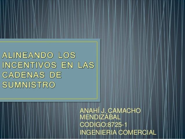 ANAHÍ J. CAMACHO MENDIZÁBAL CODIGO:8725-1 INGENIERIA COMERCIAL
