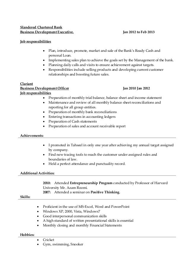 collection resume