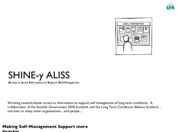 SHINE-y ALISS A ccess to  L ocal  I nformation to  S upport  S elf-Management Working towards better access to information...