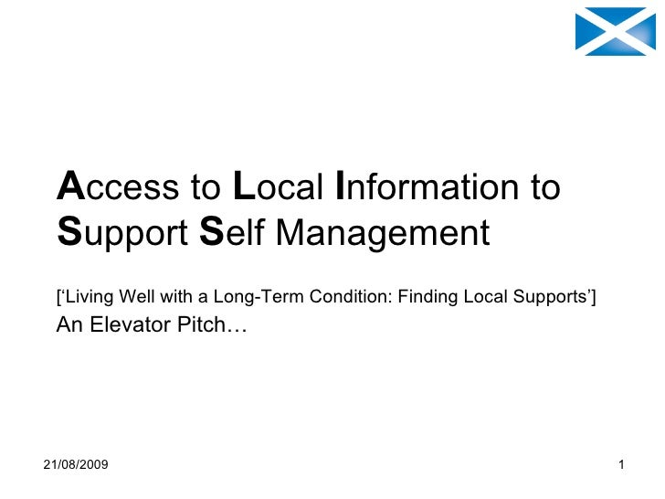 ALISS update & overview (Access to Local Information to Support Self-management) Elevator Pitch v4