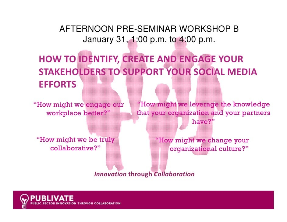 AFTERNOON PRE-SEMINAR WORKSHOP B          January 31, 1:00 p.m. to 4:00 p.m. HOW TO IDENTIFY, CREATE AND ENGAGE YOUR  STAK...