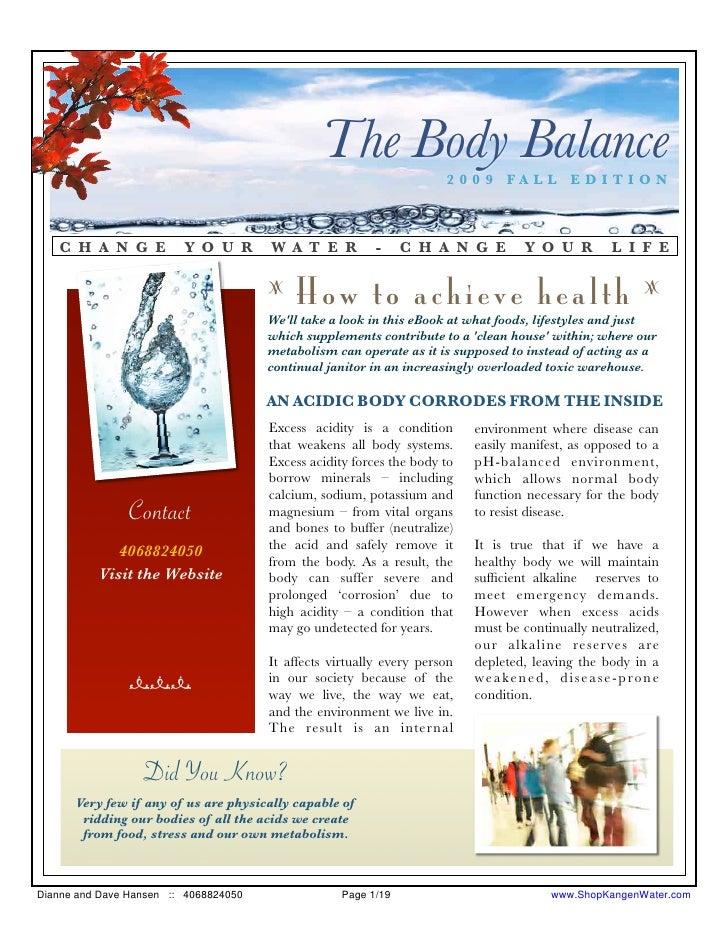 The Body Balance      2009 FALL EDITION       C H A N G E           Y O U R       W A T E R          -     C H A N G E    ...