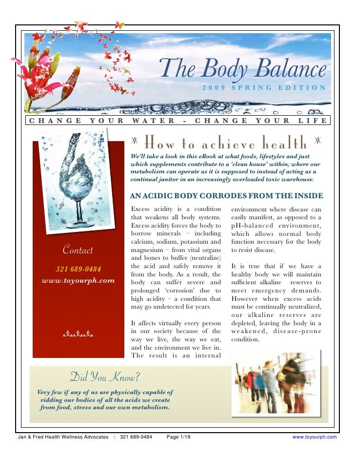 The Body Balance                                                                      2009 SPRING EDITION        C H A N G...