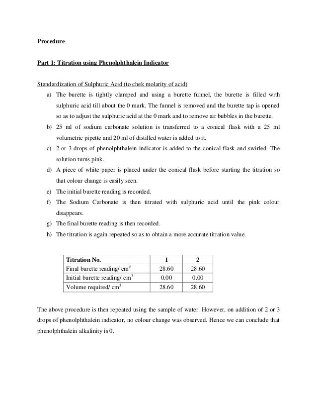 alkalinity titration I've learned how to measure alkalinity ( by drops) and chlorine chemical titrations thu jun 25, 2015 7:14 pm you'll need to use more sour to get the appropriate ph than if you didn't have bicarb alkalinity typical alkalinity titration uses phenolpthalein as an indicator.