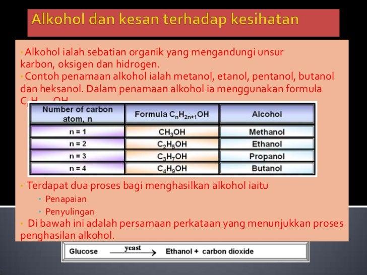 Alkoholdankesanterhadapkesihatan<br /><ul><li>Alkoholialahsebatianorganik yang mengandungiunsurkarbon, oksigendanhidrogen.