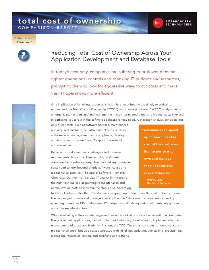 Reducing Total Cost of Ownership for Database and Developer Software