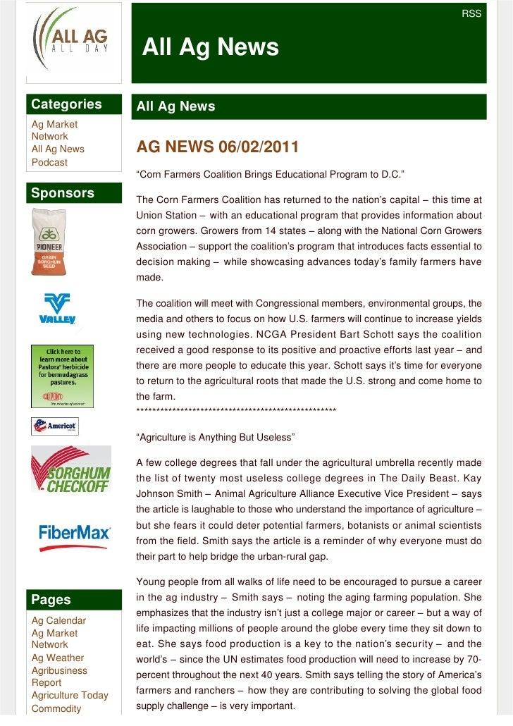 RSS                     All Ag NewsCategories          All Ag NewsAg MarketNetworkAll Ag News         AG NEWS 06/02/2011Po...