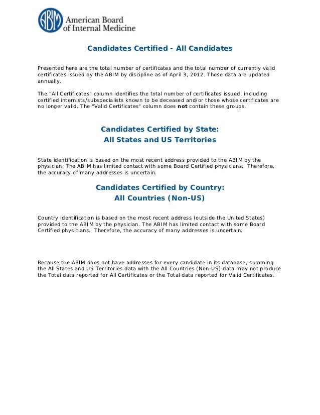 Candidates Certified - All CandidatesPresented here are the total number of certificates and the total number of currently...