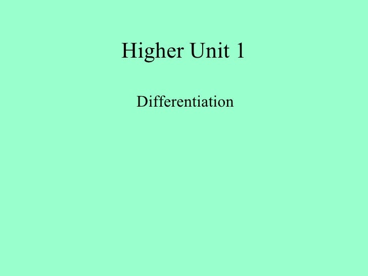 All  Differentiation