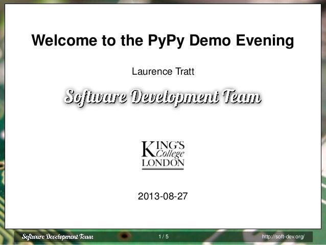 PyPy London Demo Evening 2013