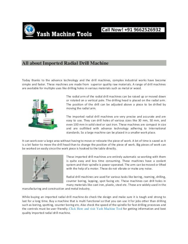 All about imported radial drill machine   www.yashmachine.com