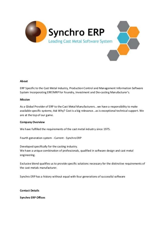 All about synchro erp