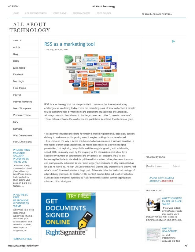 4/22/2014 All About Technology http://www.bloggingtalk.com/ 1/6 HOME LEA RN WORDPRESS FREE THEME PREMIUM THEME FREE PLUGIN...