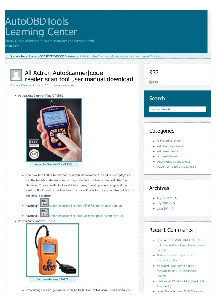 All Actron Auto Scanner Code Reader Scan Tool User Manual