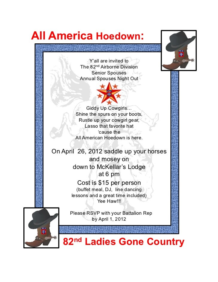 All America Hoedown:                 Y'all are invited to             The 82nd Airborne Division                  Senior S...